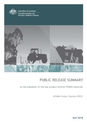 Public Release Summary on the Evaluation of the New Product Amitron 700WG Herbicide