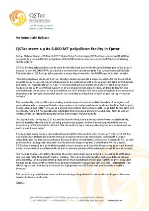 Qstec Starts up Its 8,000 MT Polysilicon Facility in Qatar