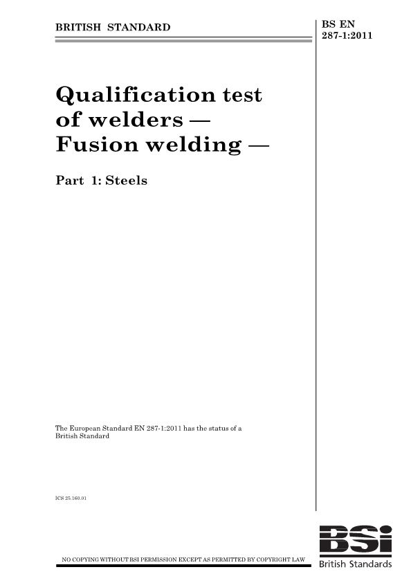 Qualification Test of Welders — Fusion Welding