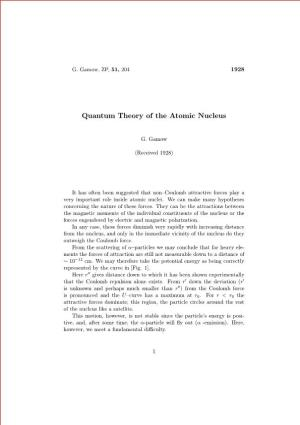 Quantum Theory of the Atomic Nucleus