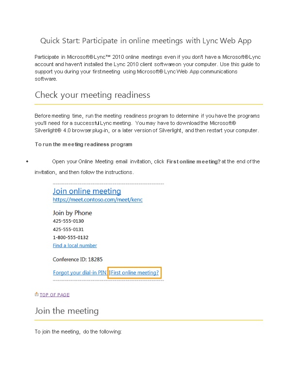 Quick Start: Participate in Online Meetings with Lync Web App