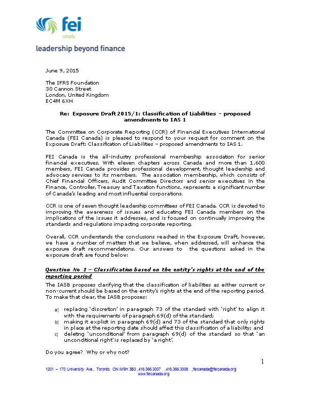 Re: Exposure Draft 2015/1: Classification of Liabilities Proposed Amendments to IAS 1