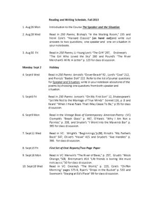 Reading and Writing Schedule, Fall 2013