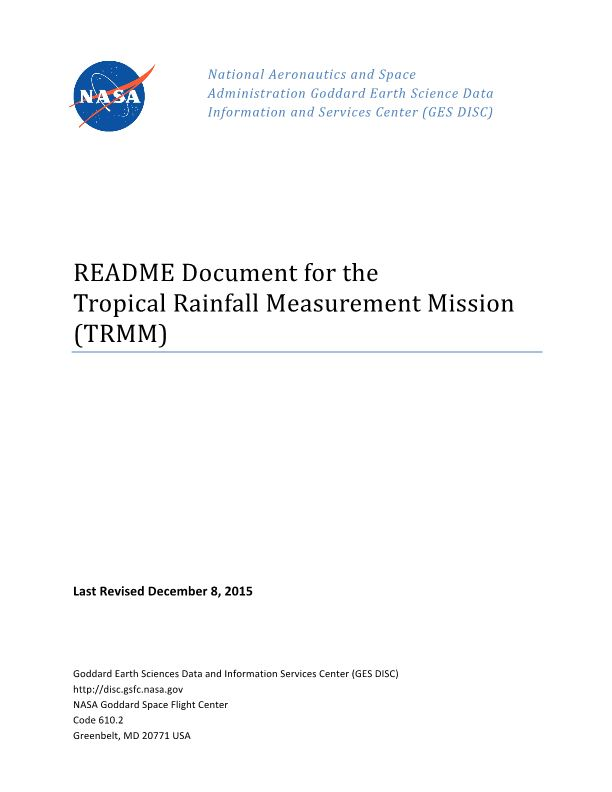 README Document for the Tropical Rainfall Measurement Mission
