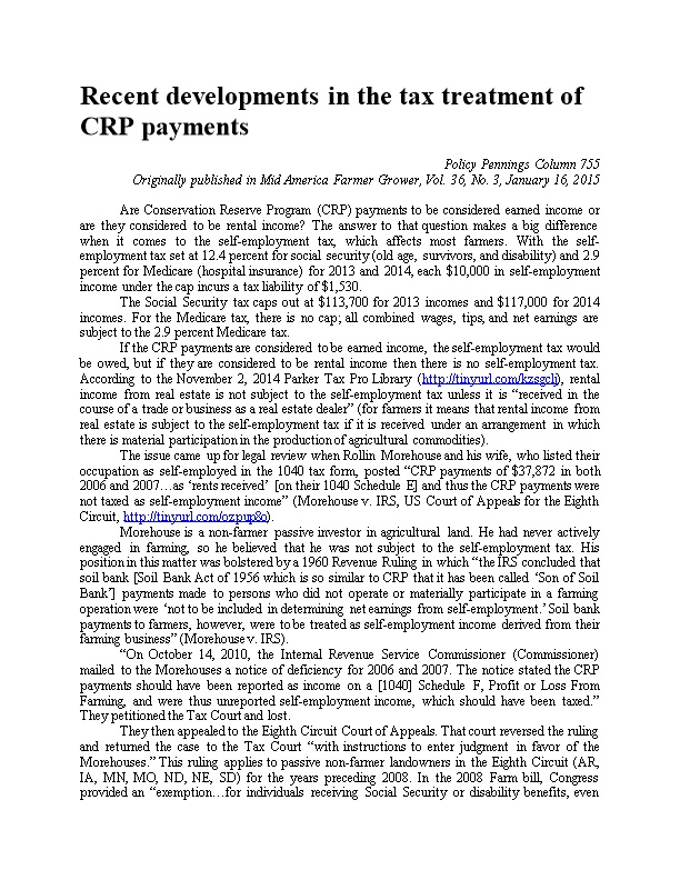 Recent Developments in the Tax Treatment of CRP Payments