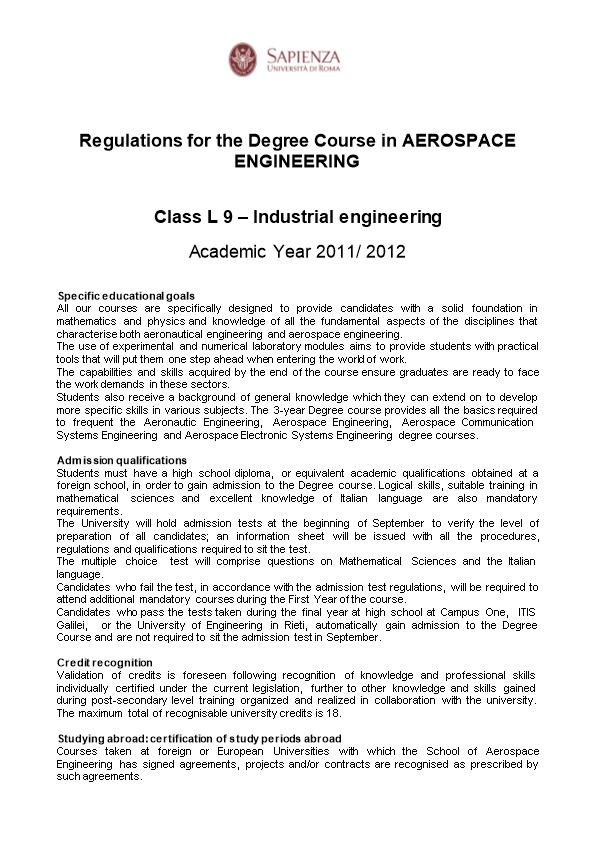 Regulations for the Degree Course in AEROSPACE ENGINEERING