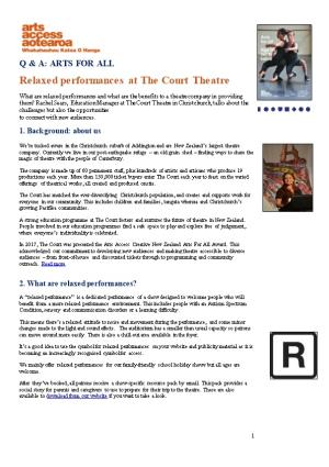 Relaxed Performances at the Court Theatre