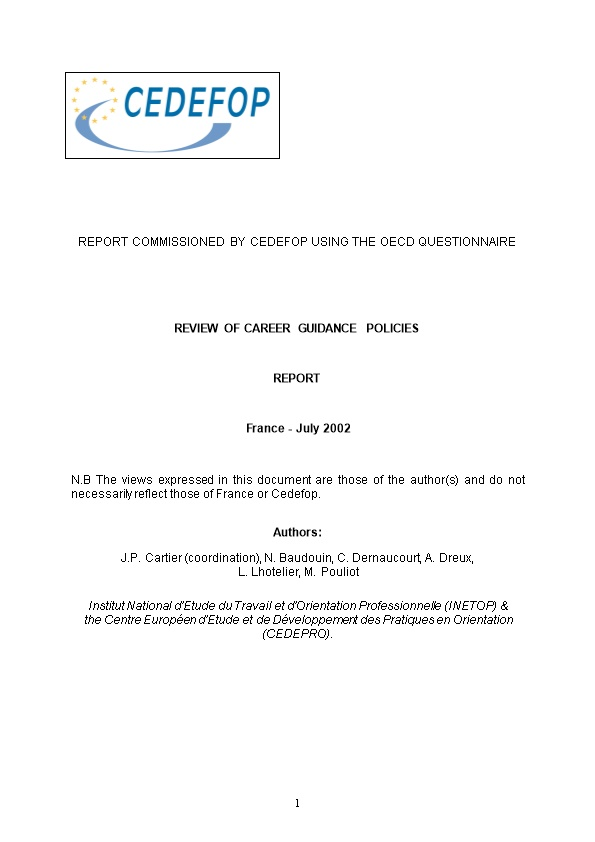 Report Commissioned by Cedefop Using the Oecd Questionnaire