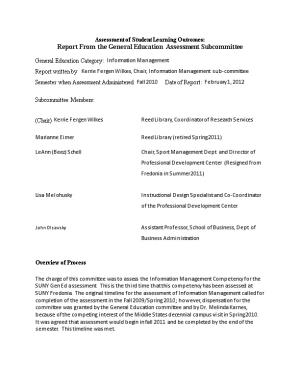 Report from the General Education Assessment Subcommittee