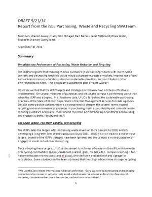 Report from the Isee Purchasing, Waste and Recycling Swateam