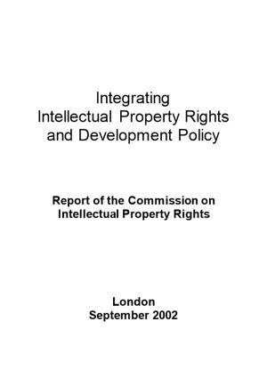 Report of the Commission on Intellectual Property Rights