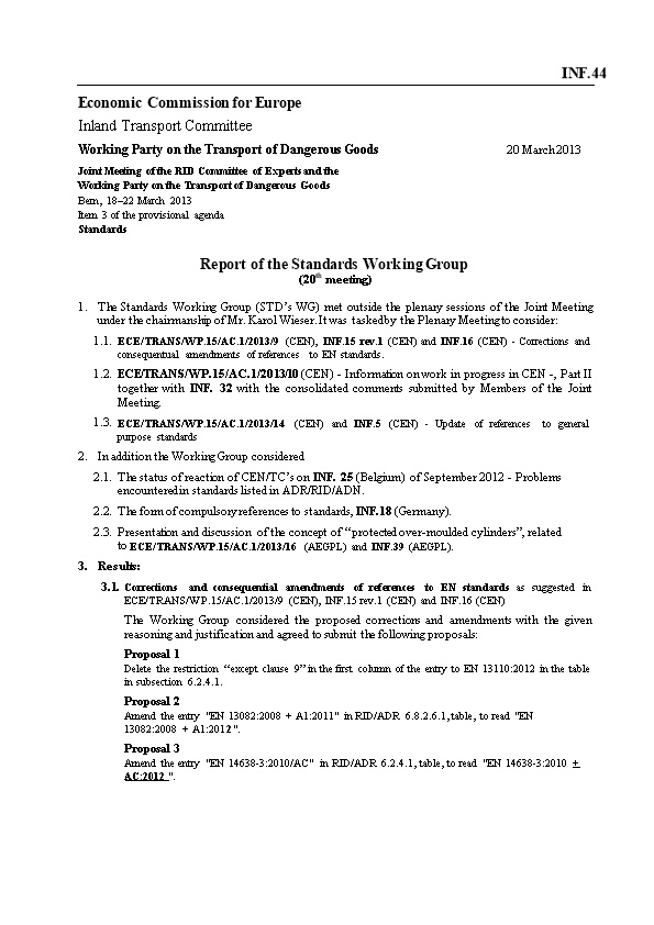 Report of the Standards Working Group