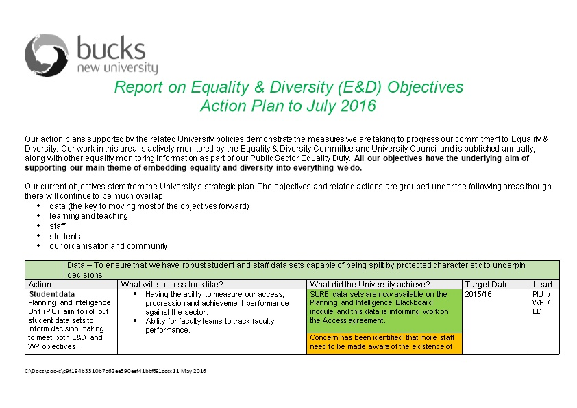 Report on Equality & Diversity (E&D) Objectives