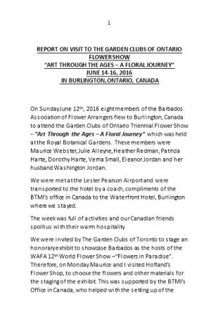 Report on Visit to the Garden Clubs of Ontario Flower Show