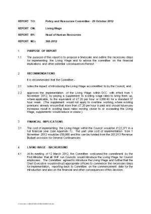 REPORT TO:Policy and Resources Committee - 29 October 2012