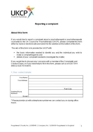 Reporting a Complaint
