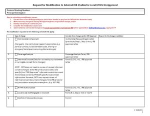 Request for Modification to External IRB Studies for Local UTHSCSA Approval