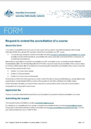 Request to Extend Course Accreditation