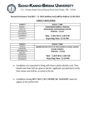 Research Entrance Test (RET I) -2014 (Written Test) Will Be Held on 12.09.2014