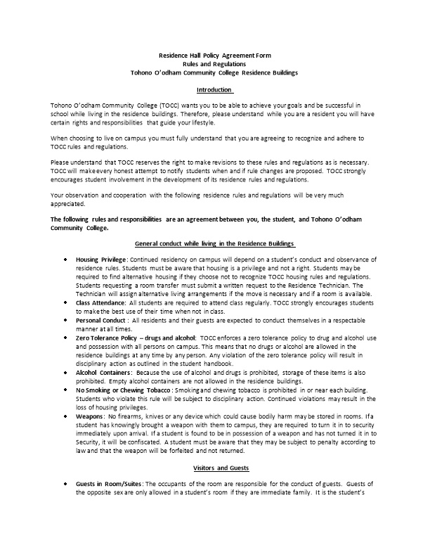 Residence Hall Policy Agreement Form