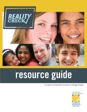 Resource Guide for Parents and Guardians to Prevent Underage Drinking
