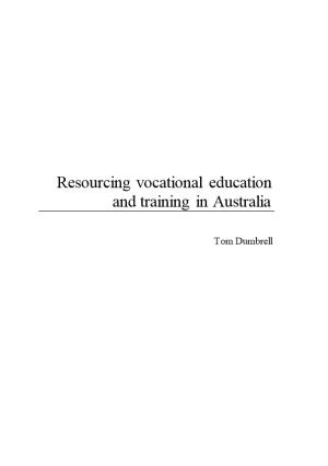 Resourcing Vocational Education and Training in Australia