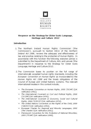 Response on the Strategy for Ulster Scots Language, Heritage and Culture 2012