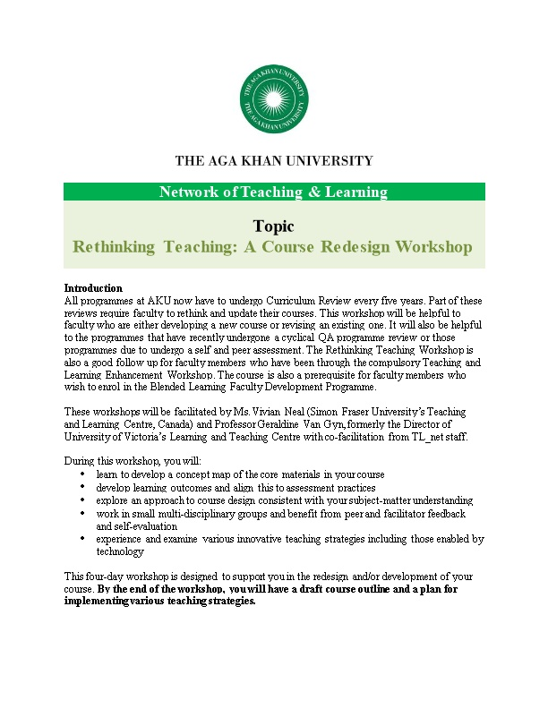 Rethinking Teaching: a Course Redesign Workshop