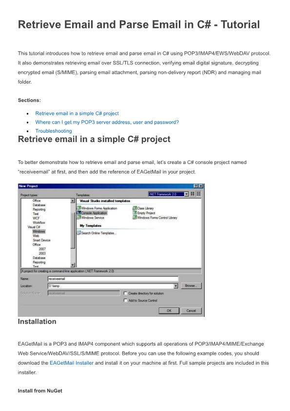 Retrieve Email and Parse Email in C# - Tutorial