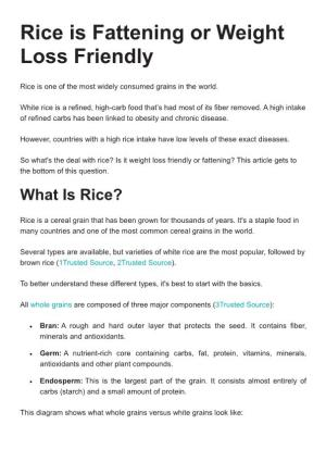 Rice Is Fattening Or Weight Loss Friendly