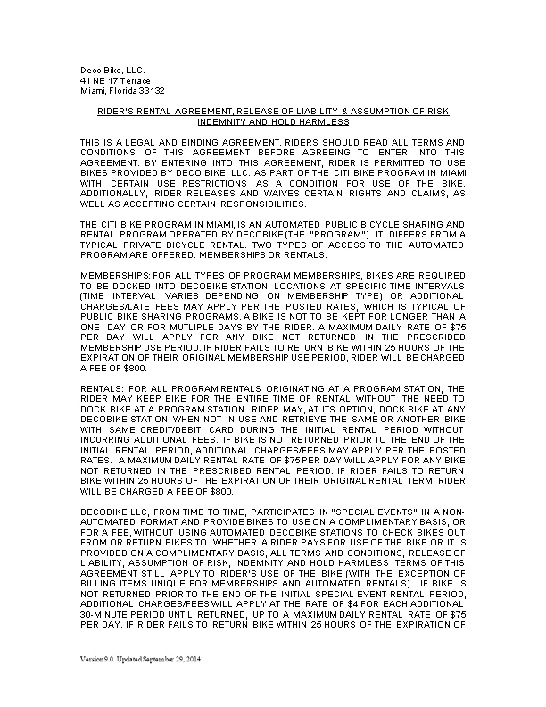 Rider S Rental Agreement, Release of Liability & Assumption of Risk