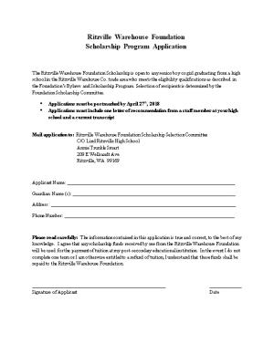 Ritzville Warehouse Foundation Scholarship Program Application