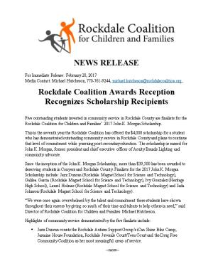 Rockdale Coalition Awards Reception Recognizes Scholarship Recipients