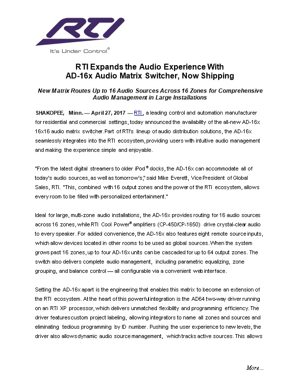 RTI Expands the Audio Experience With