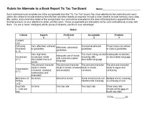 Rubric for Alternate to a Book Report Tic Tac Toe Board