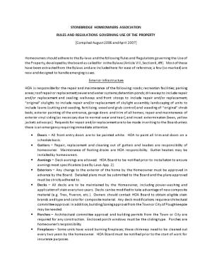 Rules and Regulations Governing Use of the Property