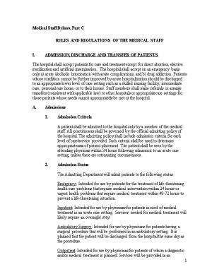 Rules and Regulations of the Medical Staff