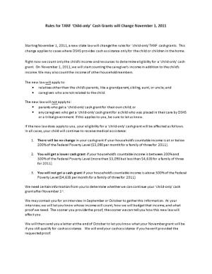 Rules for TANF Child-Only Cash Grants Will Change November 1, 2011
