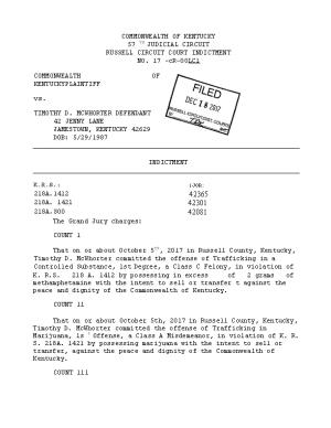 RUSSELL CIRCUIT COURT INDICTMENT NO. 17 -Cr-00Lcl