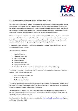 RYA Scotland Annual Awards 2016 Nomination Form