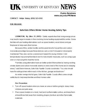 Safe Kids Offers Winter Home Heating Safety Tips