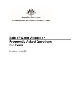 Sale of Water Allocation Frequently Asked Questions Bid Form