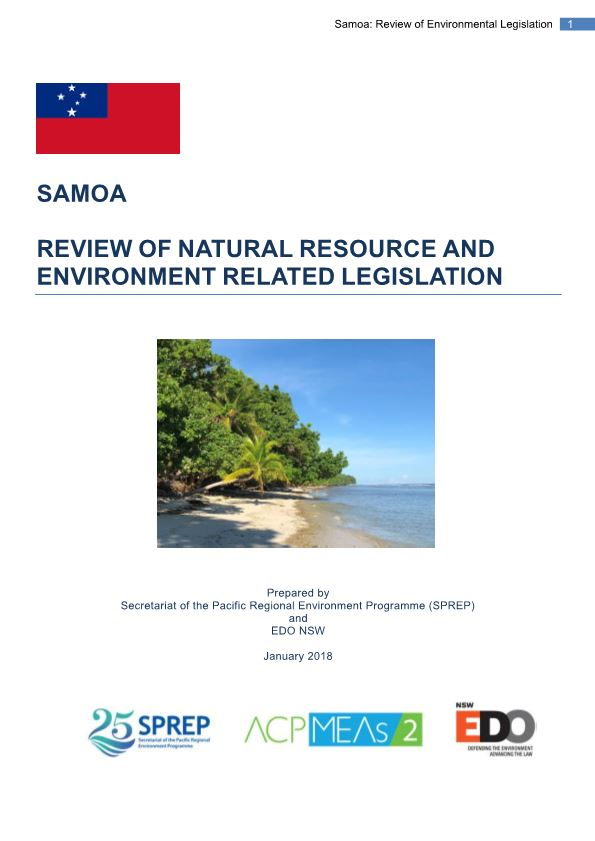 Samoa Review of Natural Resource and Environment Related Legislation