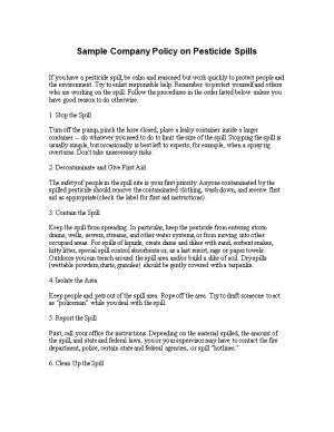 Sample Company Policy on Pesticide Spills
