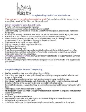 Sample Packing List for Your Main Suitcase