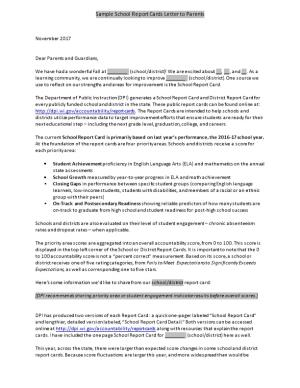 Sample School Report Cards Letter to Parents