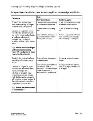 Sample Structured Interview: Assessing Prior Knowledge and Skills