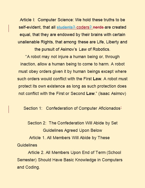 Section 1: Confederation of Computer Aficionados
