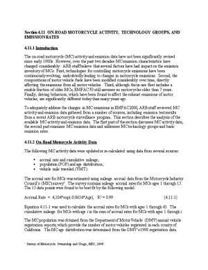 Section 4.11 ON-ROAD MOTORCYCLE ACTIVITY, TECHNOLOGY GROUPS, and EMISSION RATES
