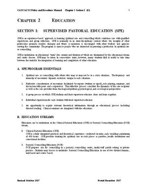 Section I: Supervised Pastoral Education (Spe)